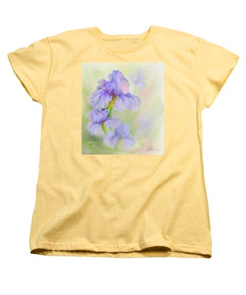 Women's T-Shirt (Standard Cut) featuring the painting Purple Iris by Bonnie Willis