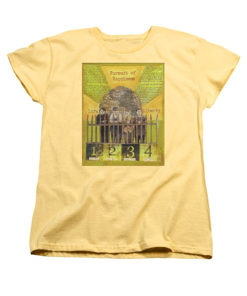 Women's T-Shirt (Standard Cut) featuring the mixed media Pursuit Of Happiness by Desiree Paquette