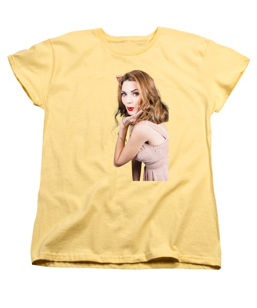 Quirky Portrait Of A Posing 50s Girl In Pinup Style Women's T-Shirt (Standard Cut) by Jorgo Photography - Wall Art Gallery