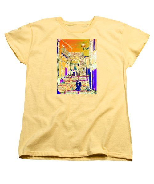 Women's T-Shirt (Standard Cut) featuring the painting Rabato  by Loredana Messina