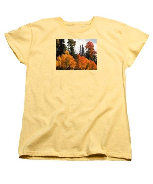 Women's T-Shirt (Standard Cut) featuring the photograph Radiant Autumnal Forest by Deborah Moen