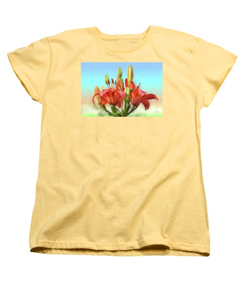 Women's T-Shirt (Standard Cut) featuring the photograph Rainbow Lilies by Lois Bryan