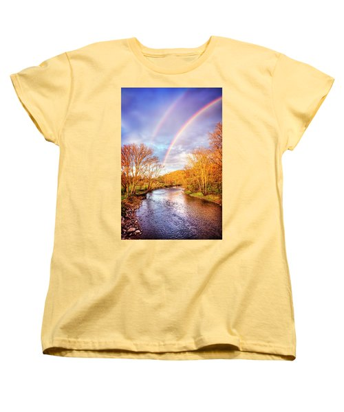 Women's T-Shirt (Standard Cut) featuring the photograph Rainbow Over The River II by Debra and Dave Vanderlaan