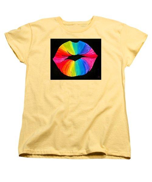 Rainbow Smooch Women's T-Shirt (Standard Cut) by Marisela Mungia