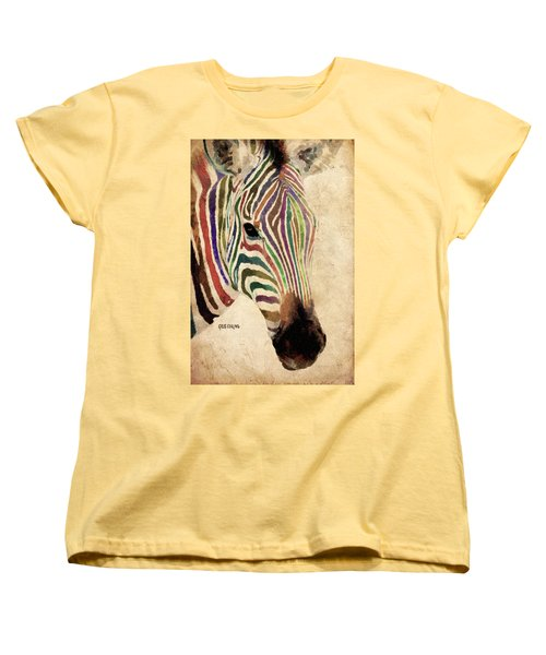 Women's T-Shirt (Standard Cut) featuring the painting Rainbow Zebra by Greg Collins