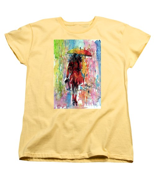 Women's T-Shirt (Standard Cut) featuring the painting Rainy Day by Kovacs Anna Brigitta