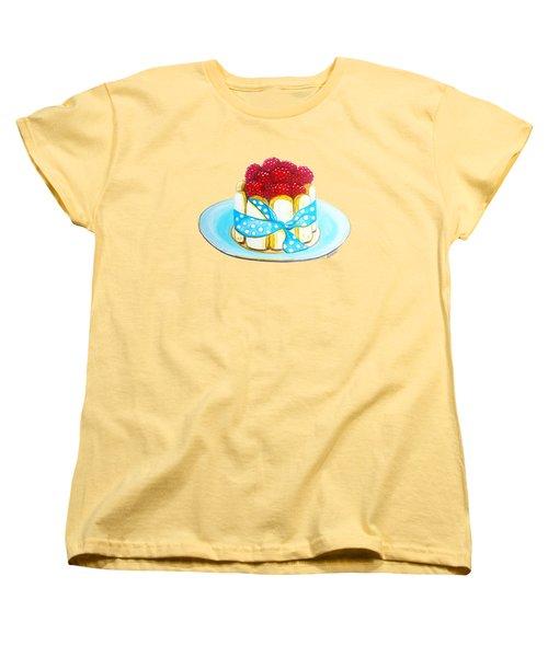 Raspberry Finger Biscuit Dessert Illustration Women's T-Shirt (Standard Cut)