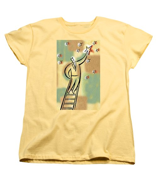 Women's T-Shirt (Standard Cut) featuring the painting Reaching For The Star by Leon Zernitsky