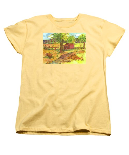 Women's T-Shirt (Standard Cut) featuring the painting Red Cabin In Autumn  by Cathie Richardson