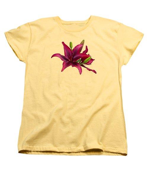 Red Lilies Women's T-Shirt (Standard Cut) by Jane McIlroy
