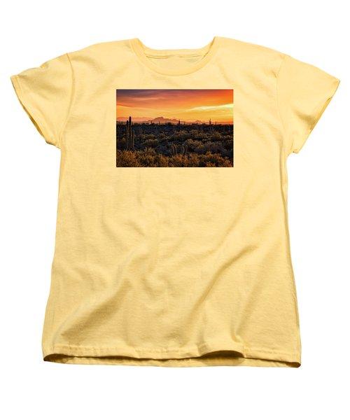 Women's T-Shirt (Standard Cut) featuring the photograph Red Mountain Sunset Part Two  by Saija Lehtonen