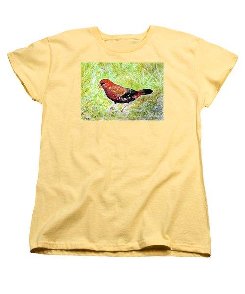 Red Munia Women's T-Shirt (Standard Cut) by Jasna Dragun