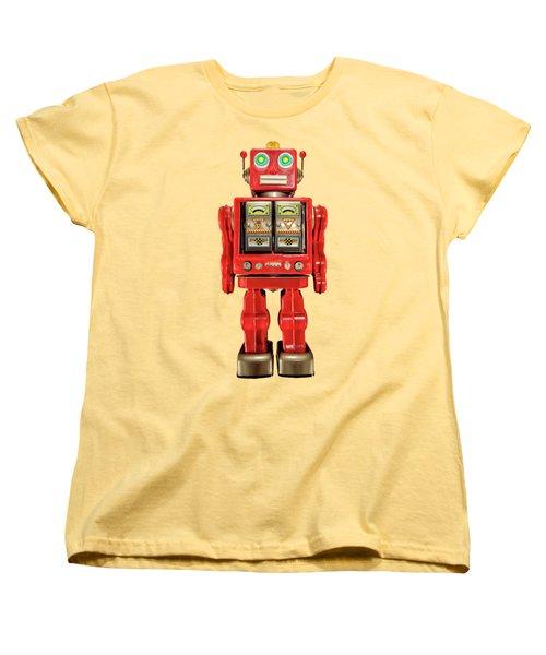 Red Tin Toy Robot Pattern Women's T-Shirt (Standard Cut) by YoPedro