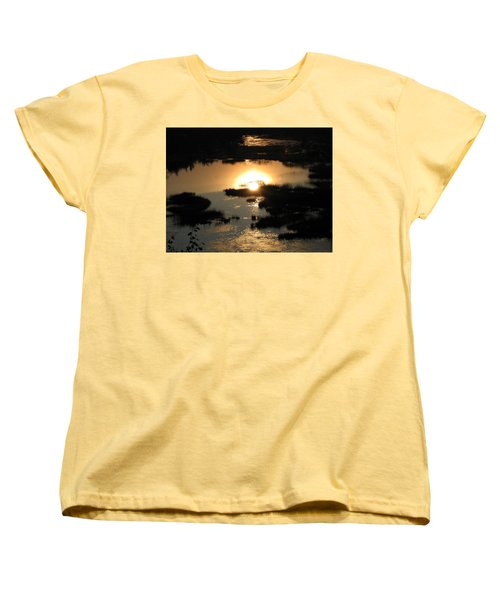 Women's T-Shirt (Standard Cut) featuring the photograph Reflections At Sunset by Barbara Yearty