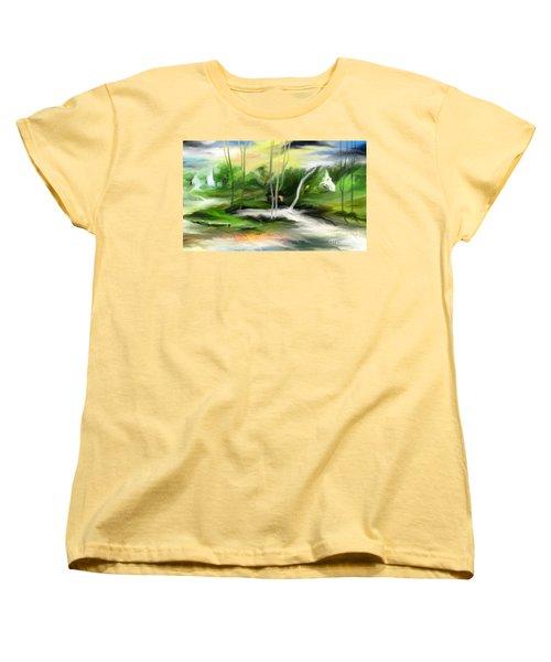Women's T-Shirt (Standard Cut) featuring the painting Retreat by Rushan Ruzaick
