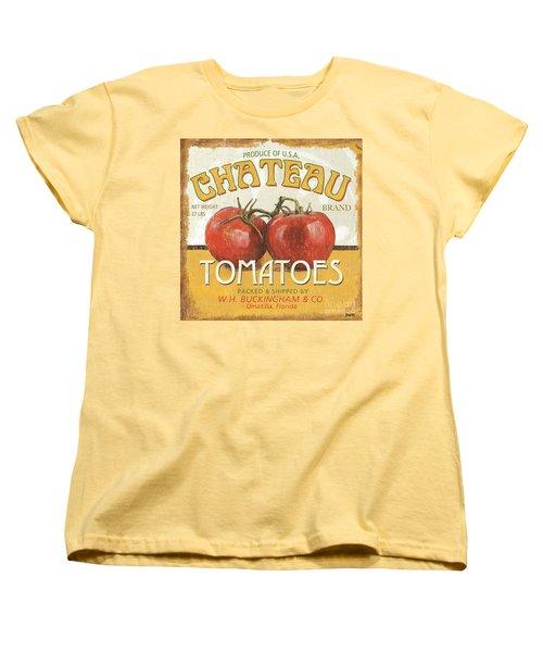 Retro Veggie Labels 4 Women's T-Shirt (Standard Cut) by Debbie DeWitt