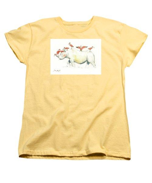 Rhino And Ibis Women's T-Shirt (Standard Cut) by Juan Bosco