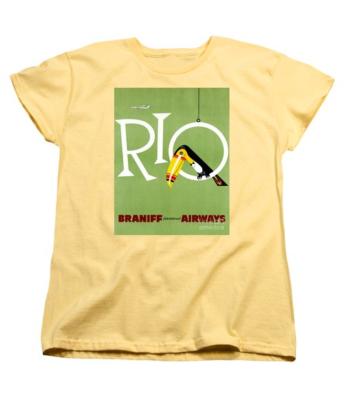 Rio Vintage Travel Poster Restored Women's T-Shirt (Standard Cut) by Carsten Reisinger