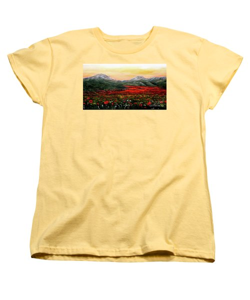 Women's T-Shirt (Standard Cut) featuring the painting River Of Poppies by Judy Kirouac
