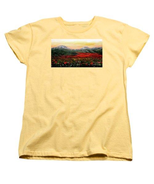 River Of Poppies Women's T-Shirt (Standard Cut) by Judy Kirouac