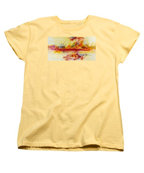 Women's T-Shirt (Standard Cut) featuring the painting Riverscape In Red....part 2 by Carolyn Rosenberger