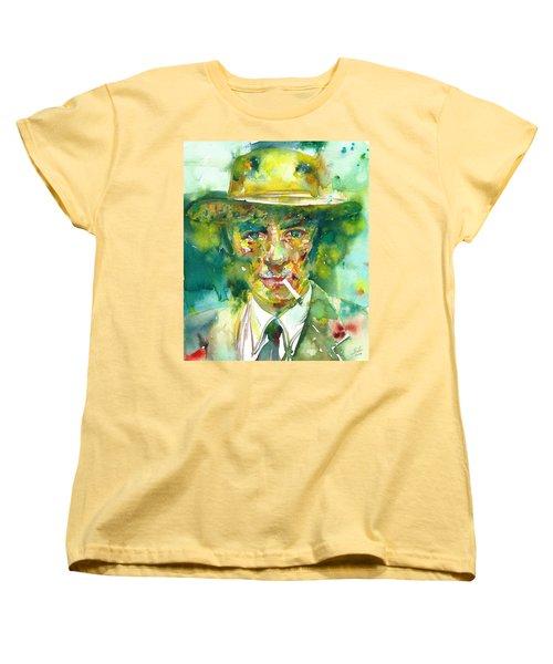 Women's T-Shirt (Standard Cut) featuring the painting Robert Oppenheimer - Watercolor Portrait.2 by Fabrizio Cassetta