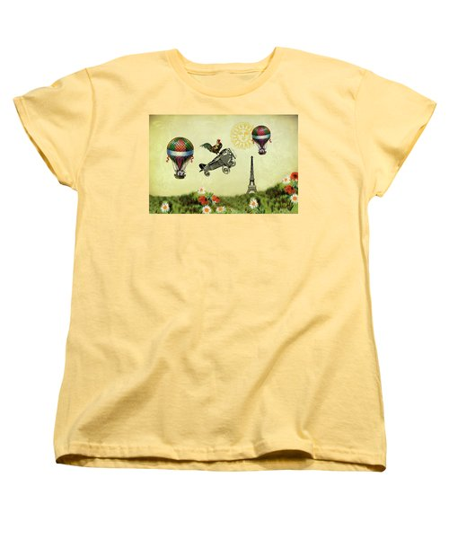Rooster Flying High Women's T-Shirt (Standard Cut) by Peggy Collins