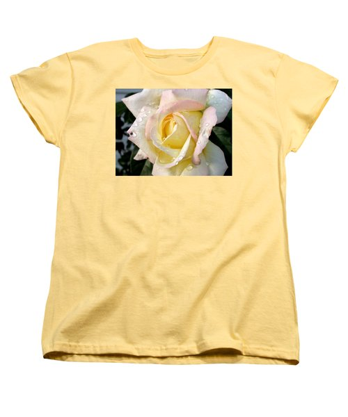 Women's T-Shirt (Standard Cut) featuring the photograph Rose And Raindrops by Cynthia Lassiter