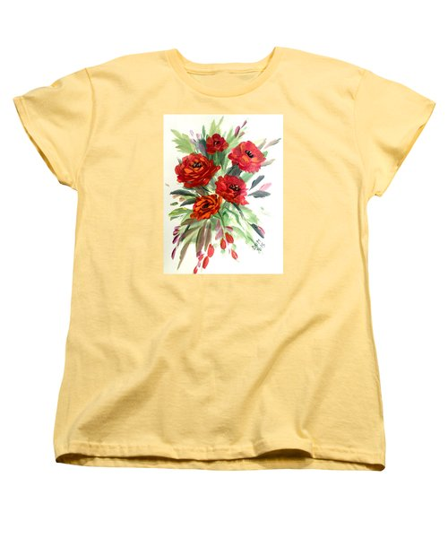Women's T-Shirt (Standard Cut) featuring the painting Rose Love by Dorothy Maier
