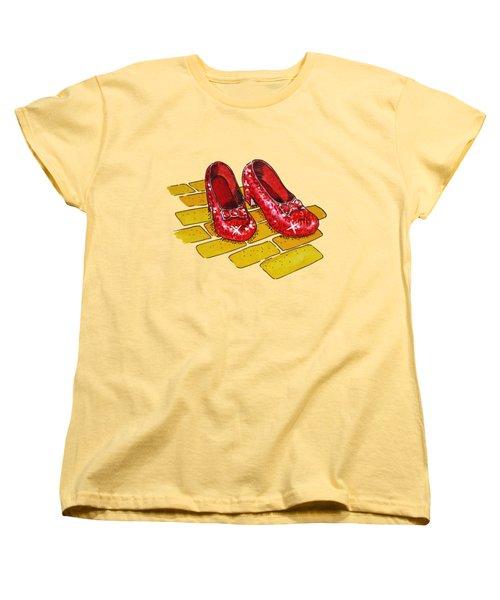 Ruby Slippers Wizard Of Oz Women's T-Shirt (Standard Cut) by Irina Sztukowski