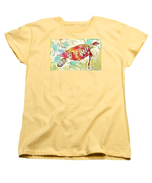 Women's T-Shirt (Standard Cut) featuring the digital art Ruby The Turtle by Erika Swartzkopf
