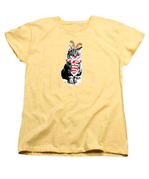Women's T-Shirt (Standard Cut) featuring the mixed media Rudolph The Red Nosed Cat- Art By Linda Woods by Linda Woods