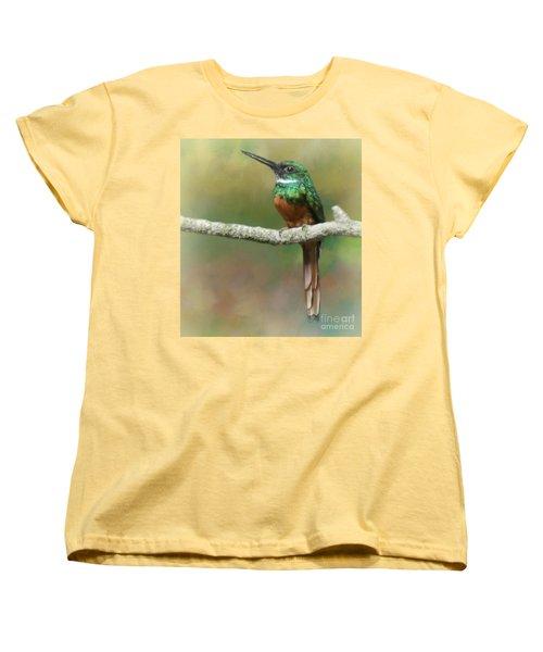 Women's T-Shirt (Standard Cut) featuring the photograph Rufus-tailed Jacamar by Myrna Bradshaw