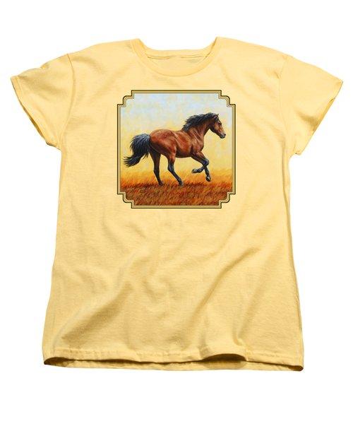 Running Horse - Evening Fire Women's T-Shirt (Standard Cut) by Crista Forest