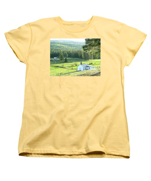 Rural Church In The Valley Women's T-Shirt (Standard Cut) by Cindy Croal