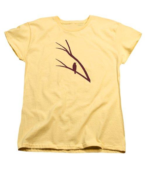 Rustic Bird Art Dark Red Bird Silhouette Women's T-Shirt (Standard Cut) by Christina Rollo