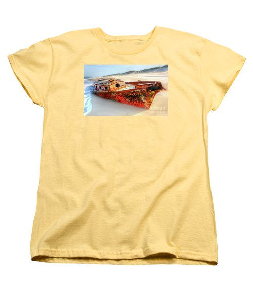 Women's T-Shirt (Standard Cut) featuring the painting Rusty Shipwreck On The Outer Banks Of North Carolina Ap by Dan Carmichael