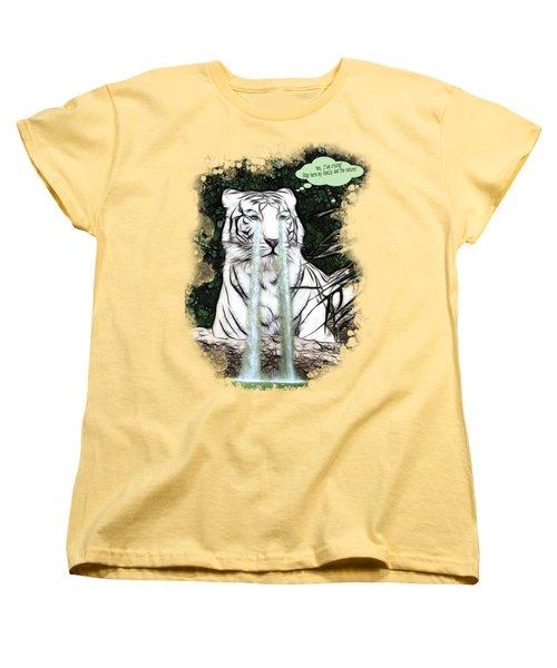 Sad White Tiger Typography Women's T-Shirt (Standard Cut) by Georgeta Blanaru