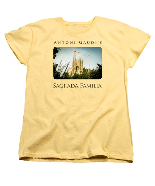 Sagrada Familia With Catalonia's Flag Women's T-Shirt (Standard Cut) by Alejandro Ascanio