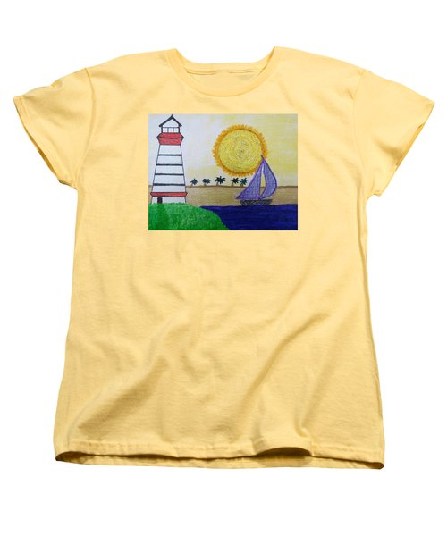 Sail Boat With Purple Sails Women's T-Shirt (Standard Cut)