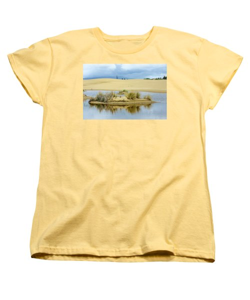 Sand Dunes And Water Women's T-Shirt (Standard Cut) by Jerry Cahill