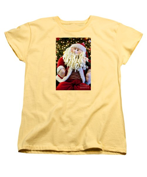 Santa Takes A Seat Women's T-Shirt (Standard Cut) by Vinnie Oakes