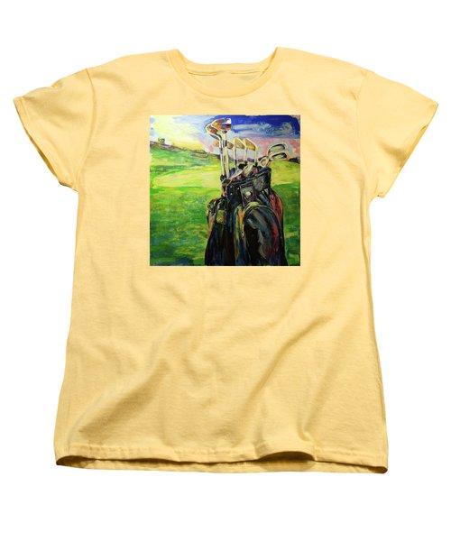 Schwarze Golftasche  Black Golf Bag Women's T-Shirt (Standard Cut) by Koro Arandia