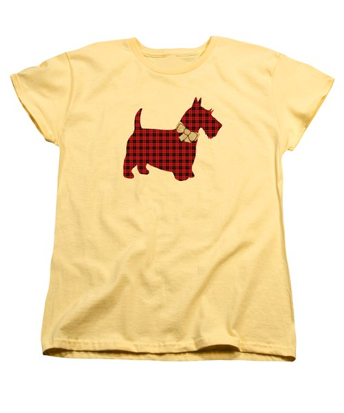 Women's T-Shirt (Standard Cut) featuring the mixed media Scottie Dog Plaid by Christina Rollo