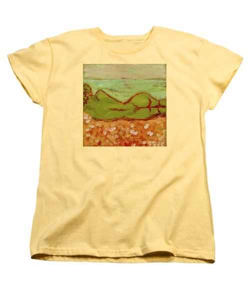 Women's T-Shirt (Standard Cut) featuring the painting Seagirlscape by Paul McKey