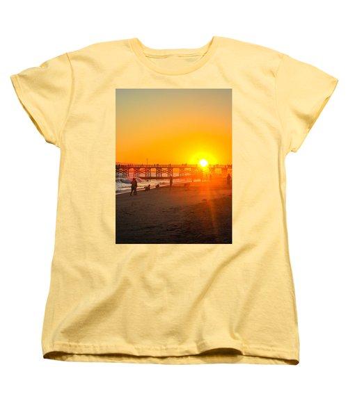 Seal Beach Pier Sunset Women's T-Shirt (Standard Cut) by Mark Barclay