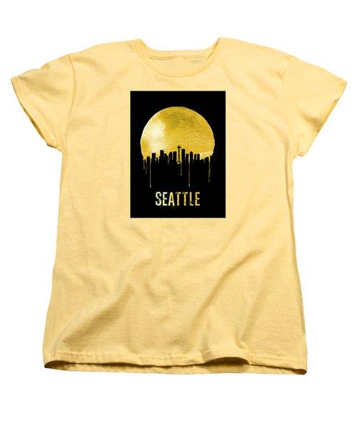 Seattle Skyline Yellow Women's T-Shirt (Standard Cut) by Naxart Studio