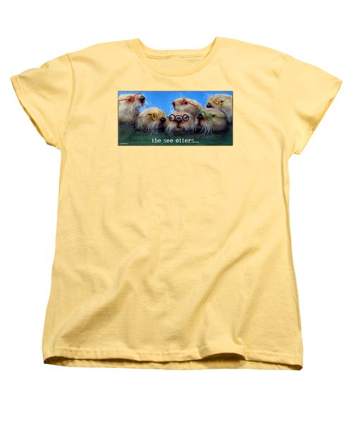 Women's T-Shirt (Standard Cut) featuring the painting See Otters... by Will Bullas