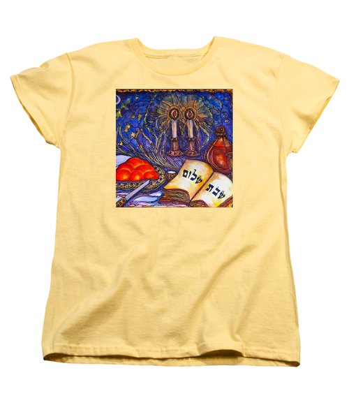 Women's T-Shirt (Standard Cut) featuring the painting Shabbat Shalom by Rae Chichilnitsky