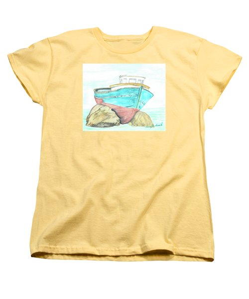 Women's T-Shirt (Standard Cut) featuring the painting Ship Wreck by Terry Frederick